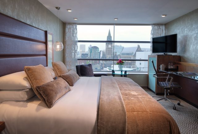Deluxe Bedroom with city view at Manchester Radisson Blu Edwardian NCN
